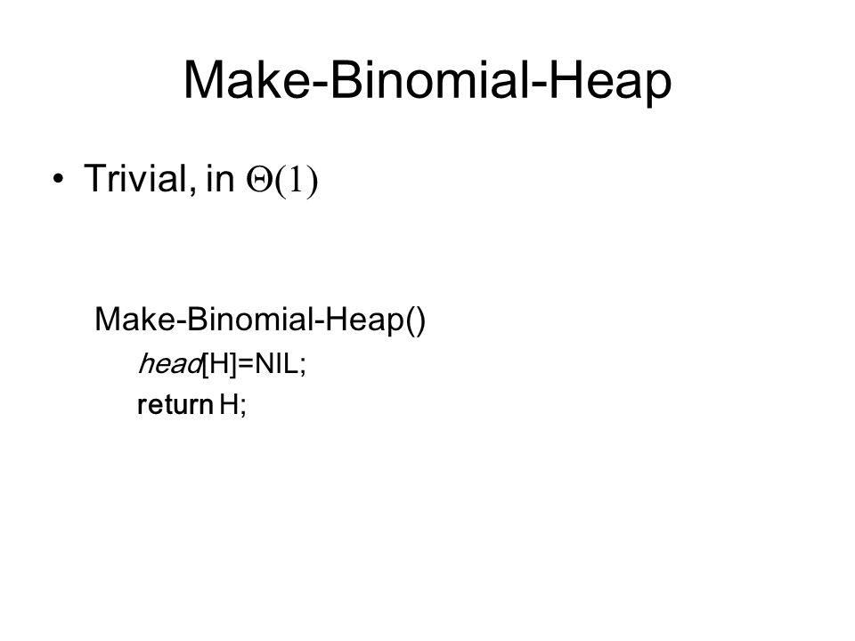 Make-Binomial-Heap Trivial, in Q(1) Make-Binomial-Heap() head[H]=NIL;